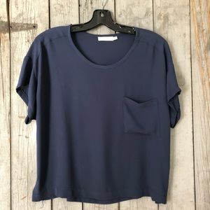 Navy LUSH Short-sleeved Top